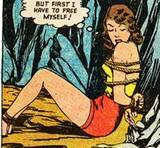 Nyoka in Zoo Comics #9 falling, KO, bondage: 1